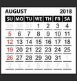 calendar sheet august 2018 vector image vector image
