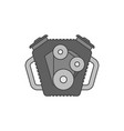 car engine flat line icon vector image vector image