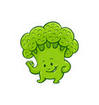 cartoon broccoli character okey gesture vector image vector image