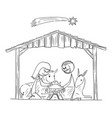 cartoon nativity scene bajesus mary and vector image