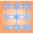 Christmas set of nine snowflakes vector image vector image