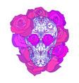 color neon of a sugar skull wit vector image vector image
