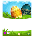 Colorful Painted Easter eggs in grass vector image vector image