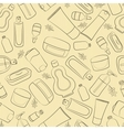 Cosmetics doodle seamless vector image vector image
