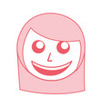 cute pink women face cartoon vector image