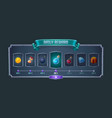 daily reward frame with item icons for game design vector image