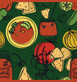 delicious tomato salsa with chips seamless pattern vector image