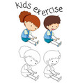 doodle kids exercise on white background vector image vector image