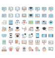 e learning and educated online icon set filled vector image vector image