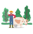 farmer stand with milk near cow cattle animal vector image vector image