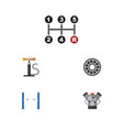 flat icon service set of carrying motor brake vector image vector image