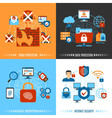 Flat Internet Security Concept Set vector image vector image