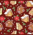 gingerbread houses and poinsettia flowers vector image