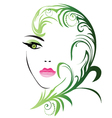 Girl face with swirly leaf vector image vector image
