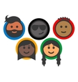 Group of multi-ethnic people emoji icons vector image vector image