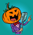 halloween pumpkin character singer holiday party vector image