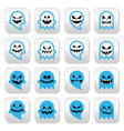Halloween scary ghost spirit buttons set vector image