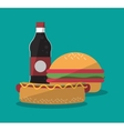 Hamburger and icon set of fast food concept vector image vector image