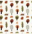 hand drawn autumn forest seamless pattern vector image vector image