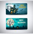 happy halloween banners with huge moon vector image vector image