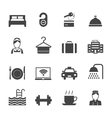 Hotel Icons Black vector image