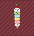 ice cream kawaii waffle cone funny face on a dark vector image vector image