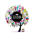 icecream tree sketch for your design vector image