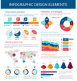 infographic design elements with map graph chart vector image vector image