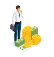 isometric businessman stands next to a large pile vector image vector image