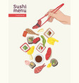 japanese restaurant menu cover template with vector image