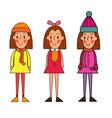 little winter kids schoolgirls isolated vector image