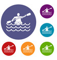 male athlete in a canoe icons set vector image vector image