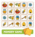 memory game for children cards about bees and vector image vector image