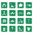 miner icons set grunge vector image vector image