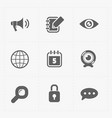 Modern flat social icons set on white