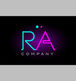 neon lights alphabet ra r a letter logo icon vector image vector image