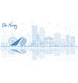 outline da nang vietnam city skyline with blue vector image vector image
