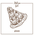 pizza sketch icon for pizzeria or italian vector image