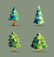Polygonal abstract pine tree set vector image vector image