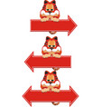 red cat sitting on arrow pointer vector image vector image