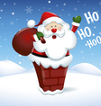 Santa Claus into the chimney in Christmas snow vector image