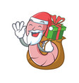 santa with gift worm mascot cartoon style vector image vector image