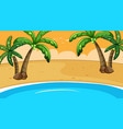 scene with coconut trees on beach vector image