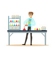 scientist in modern laboratory conducting vector image vector image