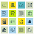 set of 16 school icons includes e-study paper vector image