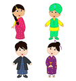 set of isolated children of Indian and Japanese vector image vector image
