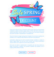 spring sale web poster discount colorful butterfly vector image vector image