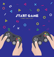 start game come and play two human holding game co vector image