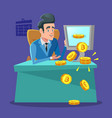 successful businessman mining bitcoin on computer vector image vector image