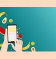 summer holidays hand holds smartphone using vector image